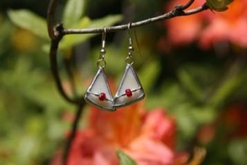 Náušnice trojúhelníkové - Lesní sklo
