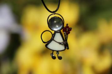 Andílci - šperk na krk - Lesní sklo