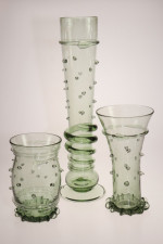 Gotická flétna s perličkami - Lesní sklo