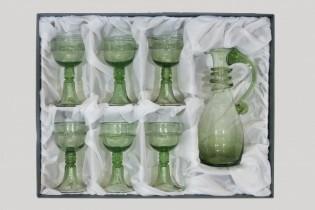 Set karafy kuželky a číší Veroniky Franco - Lesní sklo