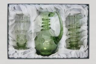 Sada karafy a renesančních číší - Lesní sklo