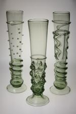Gotická flétna - píšťala s rádlovým dekorem - Lesní sklo