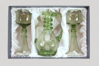 Sada karafy a dvou svatebních číší - Lesní sklo