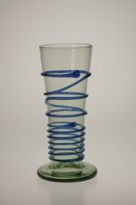 Číška s modrou spinou - Lesní sklo