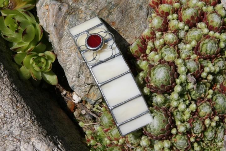 Spona béžová s kytičkou - Lesní sklo