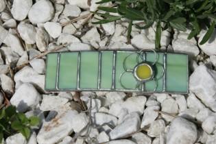 Spona zelená s kytičkou - Lesní sklo