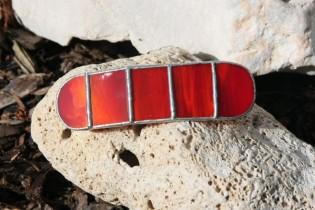 Spona červená - Lesní sklo