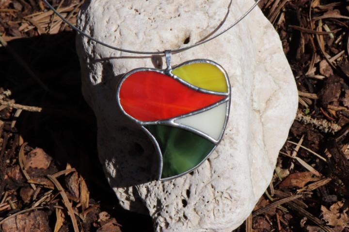 Srdce velké barevné - Lesní sklo
