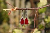 Náušnice červené malé - Lesní sklo