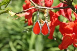 Náušnice červené buclaté - Lesní sklo