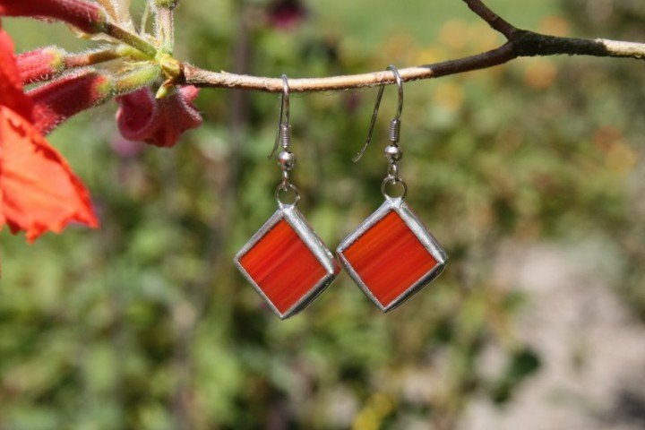 Náušnice červené - Lesní sklo