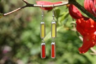 Náušnice červeno-žluté - Lesní sklo