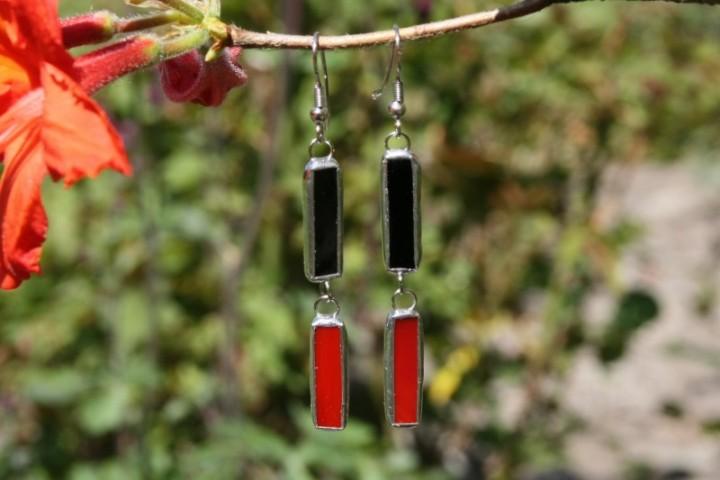 Náušnice černo-červené - Lesní sklo
