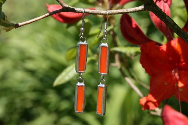 Náušnice oranžové - Lesní sklo