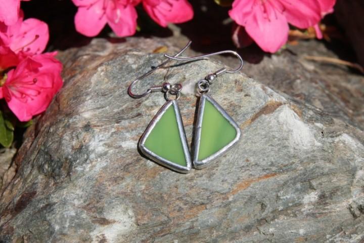 Náušnice zelené - Lesní sklo