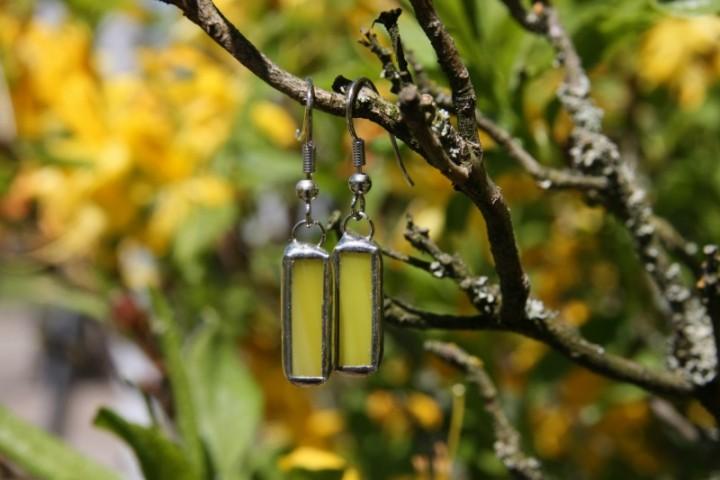 Náušnice sluníčkové malé - Lesní sklo