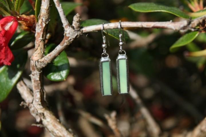 Náušnice zelené střední - Lesní sklo