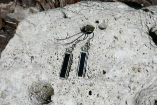 Náušnice černé malé - Lesní sklo