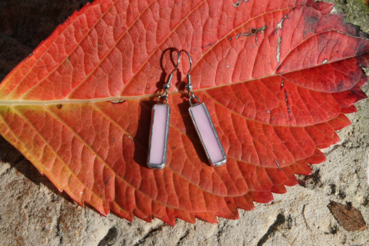 Náušnice růžové střední - Lesní sklo