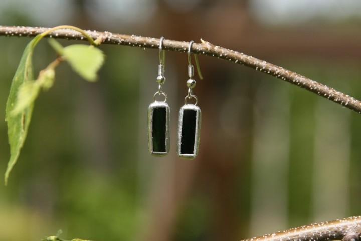 Náušnice tmavě zelené malé - Lesní sklo