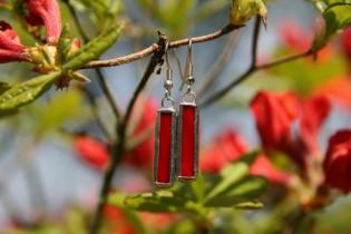 Náušnice červené střední - Lesní sklo