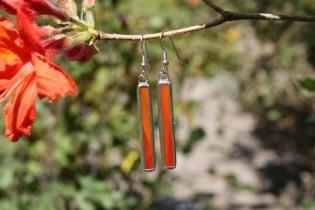 Náušnice červené dlouhé - Lesní sklo