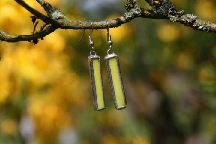 Náušnice sluníčkové dlouhé - Lesní sklo