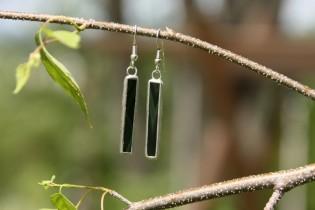 Náušnice tmavě zelené dlouhé - Lesní sklo