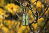 Náušnice zelené zdobené - Lesní sklo