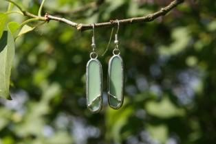 Náušnice zelené oválné - Lesní sklo
