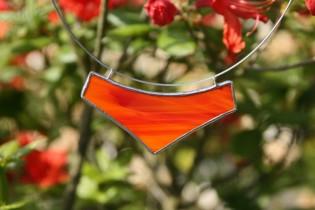 Náhrdelník velký červený - Lesní sklo