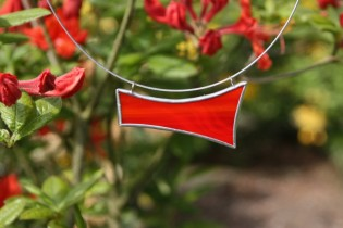 Náhrdelník červený - Lesní sklo