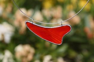 Náhrdelník červený oblý - Lesní sklo