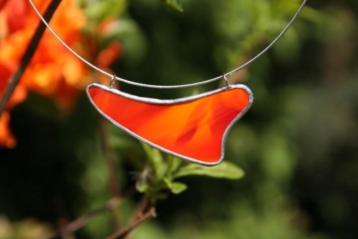 Náhrdelník ohnivý - Lesní sklo