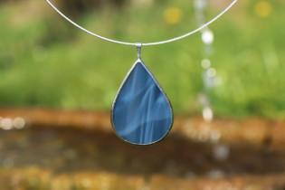 Šperk - kapka z moře - Lesní sklo