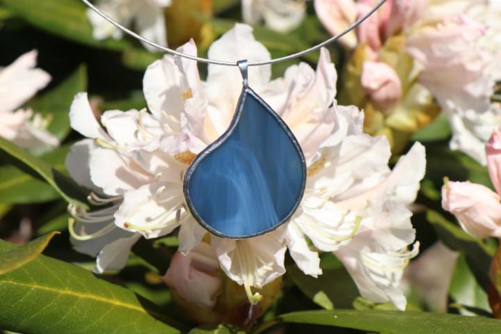 Šperk - kapka z mořských vln - Lesní sklo