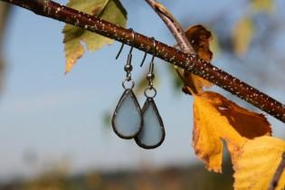 Náušnice z nebe patinované - Lesní sklo