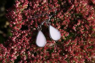 Náušnice kapky růžové - Lesní sklo