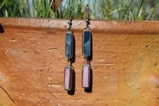 Náušnice modro-růžové - Lesní sklo