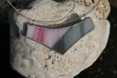 Náhrdelník šedo-růžový - Lesní sklo