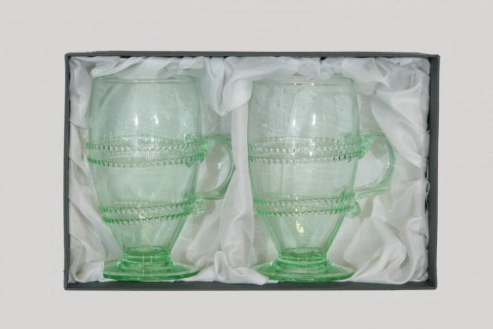 Balení dvou sklenic s vinutím a uchem kulatých II. - Lesní sklo