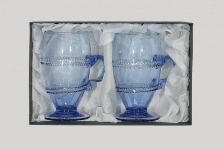Balení dvou sklenic s vinutím a uchem kulatých - Lesní sklo