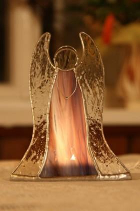 Anděl - svícen na čajovou svíčku fialový - Lesní sklo