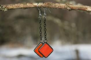 Náušnice pro dobrou náladu červenooranžové - Lesní sklo