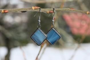 Náušnice barvy moře s patinou - Lesní sklo