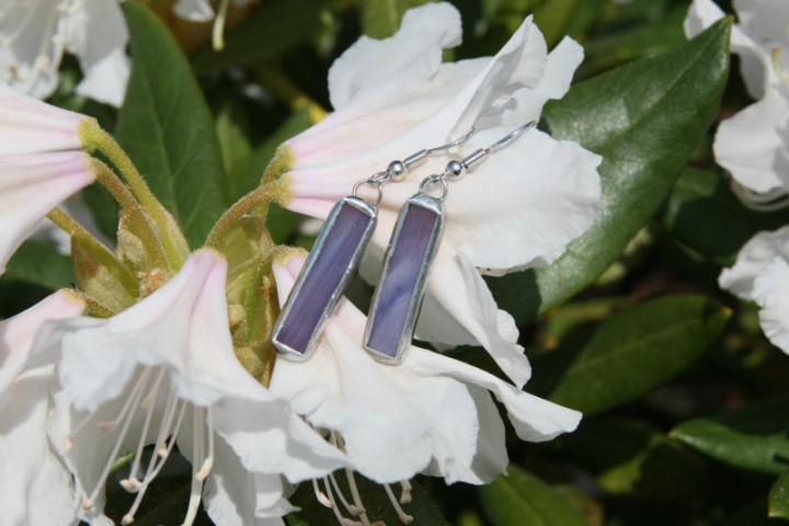 Náušnice fialové střední - Lesní sklo