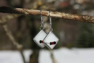 Náušnice paní Zimy s korálky - Lesní sklo