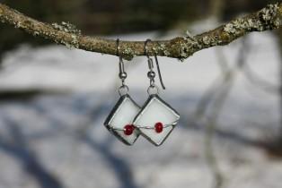Náušnice paní Zimy s korálkem - Lesní sklo
