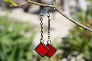 Náušnice pro dobrou náladu červené - Lesní sklo