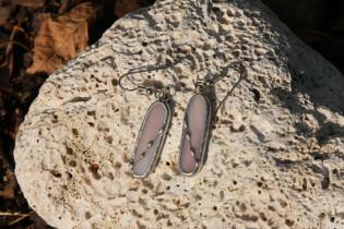 Náušnice šeříkové zdobené - Lesní sklo